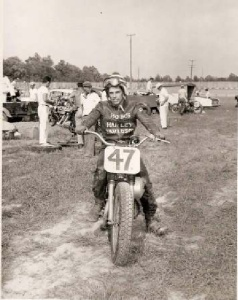 Donald Gore racing his motorcycle
