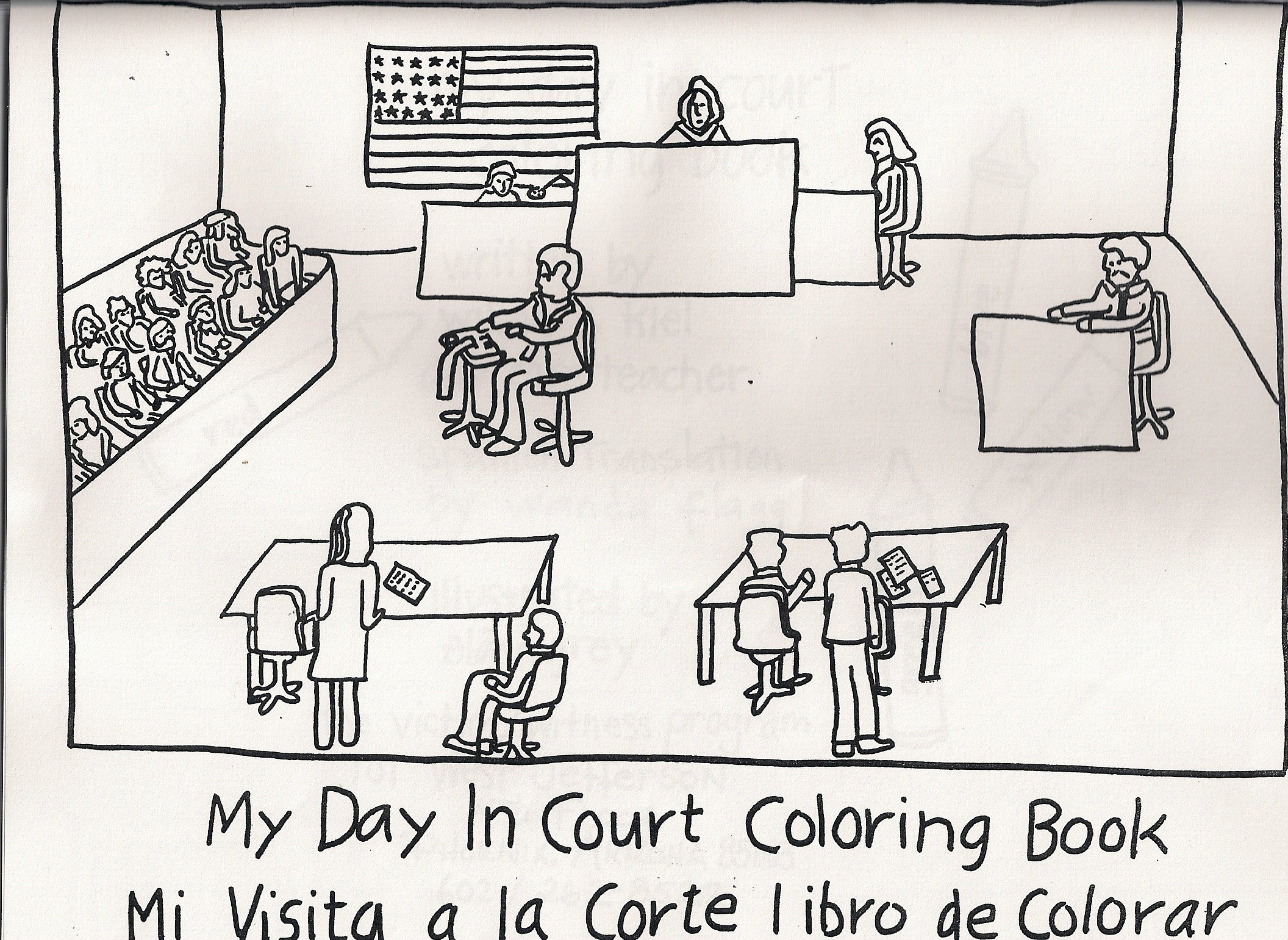 Kiddies coloring their way to understanding the court Coloring book layout